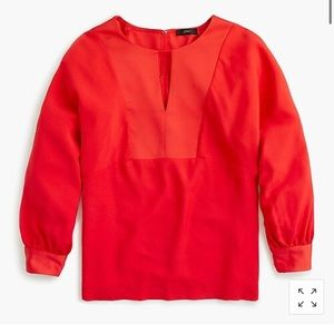J.Crew Red keyhole V-neck Top - brand new w tag!